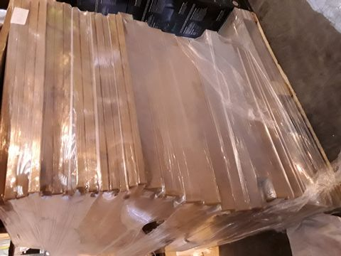 Lot 10620 PALLET OF BRAND NEW METALLIC GREY 220 × 66mm PANELS & NATURAL OSK PLINTHS 600 × 250mm