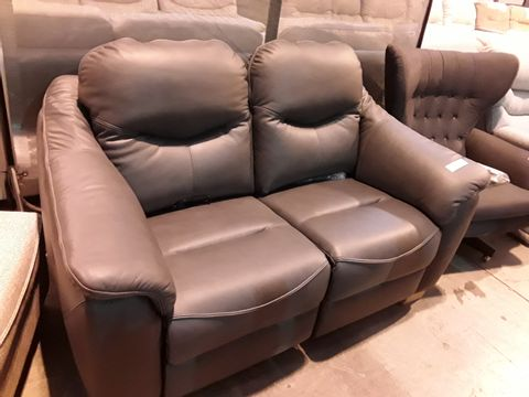 Lot 604 QUALITY BRITISH MANUFACTURED HARDWOOD FRAMED DARK GREY LEATHER POWER RECLINING TWO SEATER SOFA