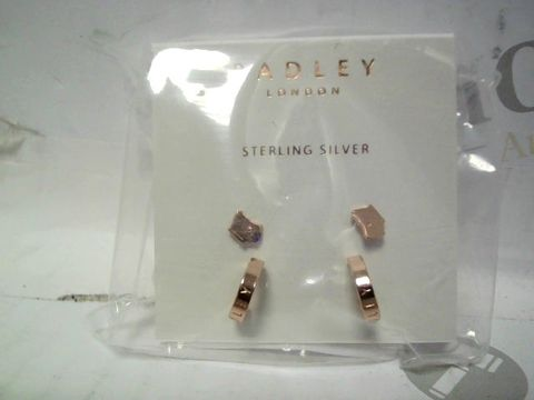 Lot 550 RADLEY STERLING SILVER 18CT ROSE GOLD PLATED EARRING DUO