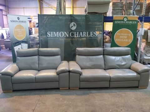 Lot 1992 QUALITY ITALIAN GREY LEATHER UPHOLSTERED THREE SEATER POWER RECLINING SOFA AND TWO SEATER FIXED SOFA