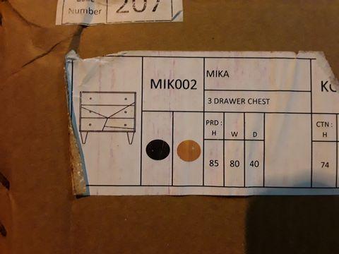 Lot 4039 BOXED DESIGNER MIKA 3 DRAWER CHEST