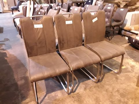 Lot 22 6 CHAIRS: 2 X GREY FABRIC CHAIR AND SET OF FOUR DARK GREY FAUX LEATHER UPHOLSTERED DINING CHAIRS WITH EXPOSED BACK RAILS