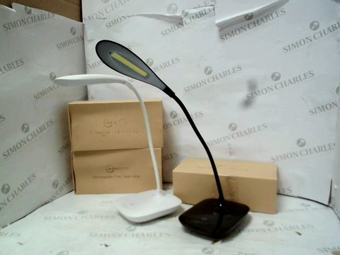 Lot 12041 LOT OF 3 AURAGLOW RECHARGEABLE FLEXI DESK LAMPS IN BLACK AND WHITE