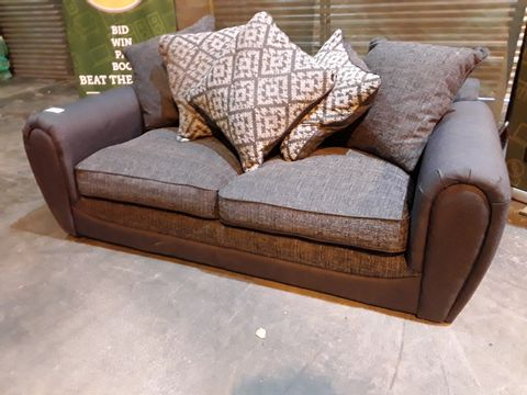 Lot 37 DESIGNER GREY FABRIC TWO SEATER SOFA WITH SCATTER CUSHIONS