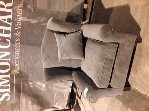 Lot 506 DESIGNER GREY FABRIC WINGED BACK EASY CHAIR