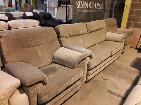 Lot 611 QUALITY BRITISH MANUFACTURED HARDWOOD FRAMED GREY FABRIC LOUNGE SUITE, COMPRISING, FIXED THREE SEATER SOFA & PAIR OF POWER RECLINING EASY CHAIRS