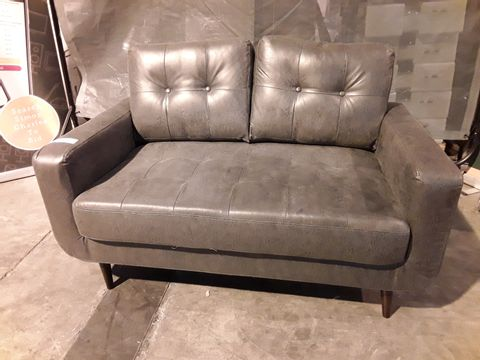 Lot 518 DESIGNER DISTRESSED STEEL GREY FAUX LEATHER TWO SEATER SOFA