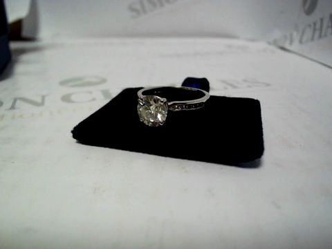 Lot 568 MOISSANITE 9 CARAT WHITE GOLD 1 CT SOLITAIRE RING WITH SET SHOULDERS RRP £635.00