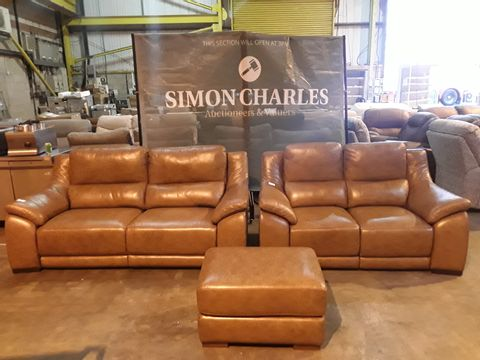 Lot 5022 QUALITY ITALIAN BRANDY LEATHER UPHOLSTERED THREE PIECE SUITE CONSISTING OF A DEGANO POWER RECLINING THREE SEATER SOFA, DEGANO POWER RECLINING TWO SEATER SOFA AND VIRGILIO FOOTSTOOL