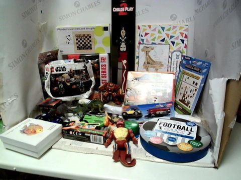 Lot 183 BOX OF ASSORTED BOYS TOYS TO INCLUDE STARWARS LEGO, 3D WOODEN PUZZLE, MIECRAFT STICKERS, FOOTBALL QUIZ