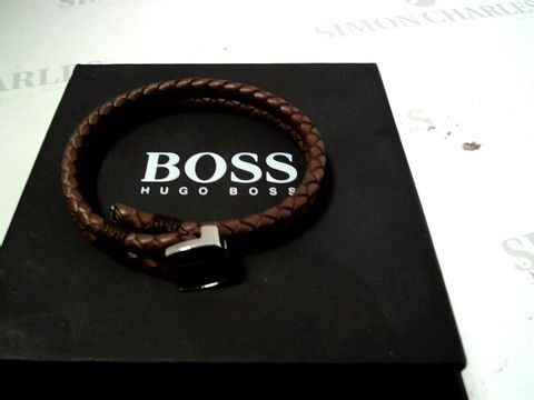 Lot 4156 BOSS SEAL BRAIDED BROWN LEATHER BAND WITH LOGO STAINLESS STEEL CLASP RRP £65.00