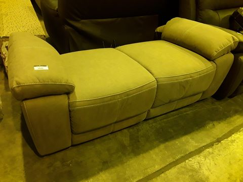 Lot 5042 BEIGE MACAO FABRIC POWER RECLINING TWO SEATER SOFA BASE ONLY (NO BACK SECTIONS)