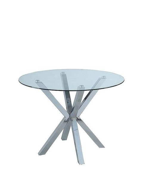 Lot 7116 CHOPSTICK 100CM ROUND GLASS DINING TABLE CLEAR/GREY (2 BOXES)