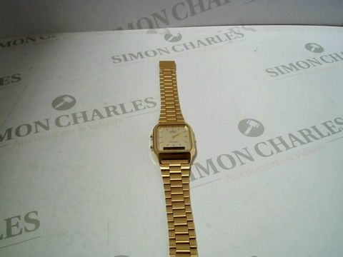 Lot 718 CASIO RETRO GOLD DIGITAL AND ANALOGUE WATCH RRP £77.99