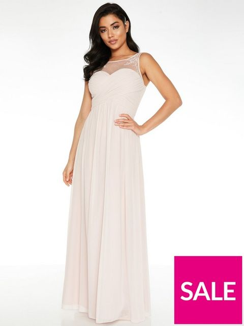 Lot 1873 BRAND NEW QUIZ CHIFFON HIGH NECK EMBELLISHED YOKE BRIDESMAID MAXI DRESS - PINK SIZE 12