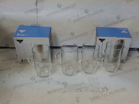 Lot 608 LOT OF 2 - ENTERTAIN SET OF 2 TALL GLASS MUGS RRP £30.00