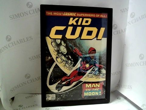 Lot 29 FRAMED KID CUDI MAN ON THE MOON COMIC COVER STYLE PRINT