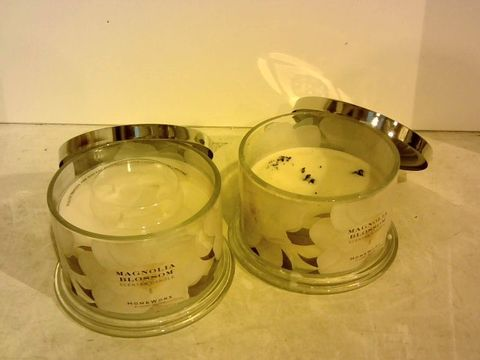 Lot 1401 BOX OF 2 HOMEWORX MAGNOLIA BLOSSOM SCENTED CANDLES