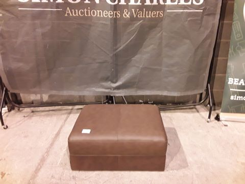 Lot 123 DESIGNER BROWN FAUX LEATHER FOOTSTOOL