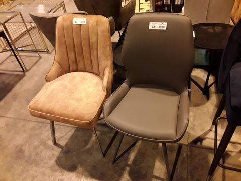 Lot 43 TWO DESIGNER UPHOLSTERED DINING CHAIRS, 1 × GOLD FABRIC, 1 × GREY FAUX LEATHER