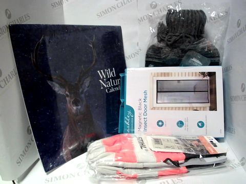 Lot 17370 BOX OF A LARGE QUANTITY OF ASSORTED HOUSEHOLD ITEMS, TO INCLUDE ASHLEY INSECT DOOR MESH, WILD NATURE 2021 CALENDAR, STIHL PROTECTIVE GLOVES, ETC