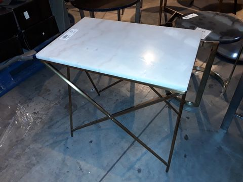 Lot 57 DESIGNER RECTANGULAR GILT METAL FRAMED WHITE MARBLE EFFECT SIDE TABLE
