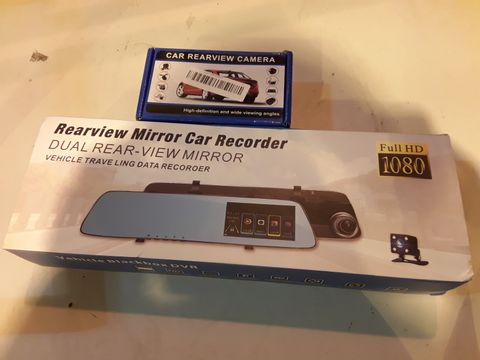 Lot 1 TWO ITEMS REARVIEW MIRROR BLACKBOX DVR CAR RECORDER & CAR REARVIEW CAMERA