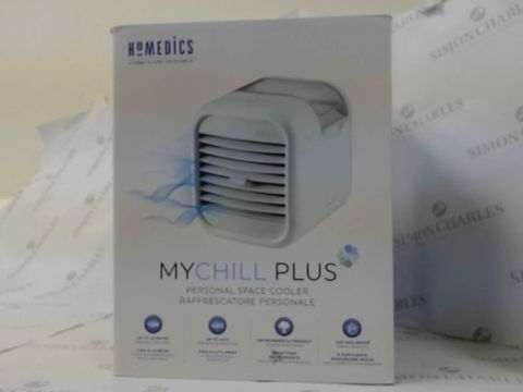 Lot 16208 BOXED HOMEDICS MYCHILL PLUS PERSONAL SPACE COOLER