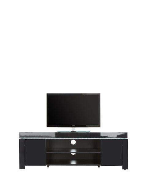 Lot 1261 BOXED ATLANTIC BLACK CORNER TV UNIT WITH LED LIGHTING  (1 BOX)