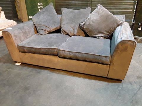 Lot 31 DESIGNER GREY FABRIC THREE SEATER SOFA WITH SCATTER CUSHIONS
