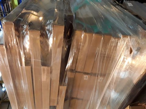 Lot 10619 PALLET OF BTAND NEW ASSORTED OFFICE FURNITURE PARTS, INCLUDING, NATURAL OAK PANELS 302 × 811mm, WALL ONFILL PANELS NATURAL OAK 220 × 661mm