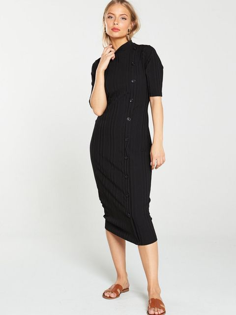 Lot 1882 BRAND NEW  BUTTON THROUGH RIBBED BLACK DRESS - SIZE 10