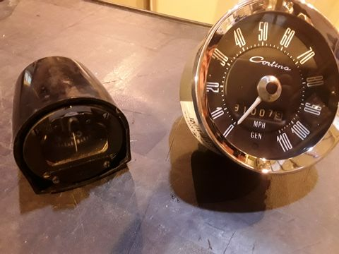 Lot 545 TWO ITEMS, CLASSIC CORTINA 110MPH SPEEDO & FLOATING COMPASS