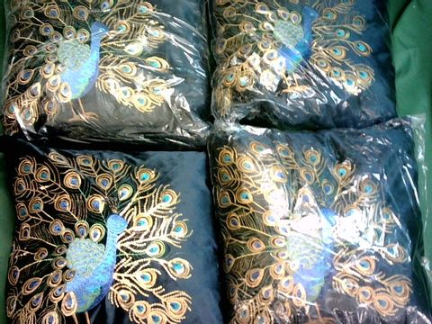 Lot 1057 LOT OF 4 EMBROIDERED PEACOCK CUSHIONS