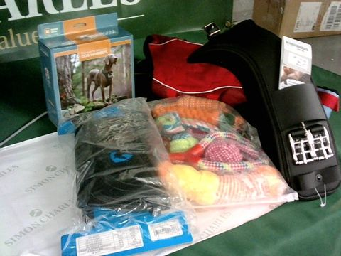 Lot 8266 LOT OF ASSORTED PET ITEMS TO INCLUDE CAMERA MOUNT DOG HARNESS, DOG TOYS, HORSE BOOTS