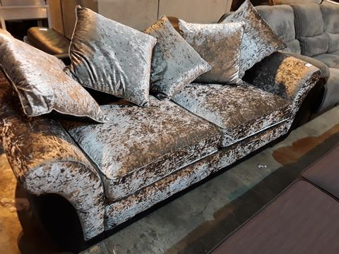 Lot 3021 DESIGNER CRUSHED SILVER VELVET & BLACK FAUX LEATHER THREE SEATER SOFA WITH SCATTER CUSHIONS