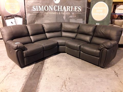 Lot 511 DESIGNER CHARCOAL LEATHER POWER RECLINING CORNER GROUP