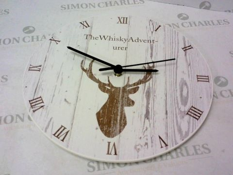 Lot 130 PERSONALISED STAG WOODEN CLOCK  RRP £70.00