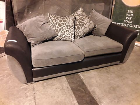 Lot 522 DESIGNER BLACK FAUX LEATHER & GREY FABRIC THREE SEATER SOFA WITH SCATTER CUSHIONS