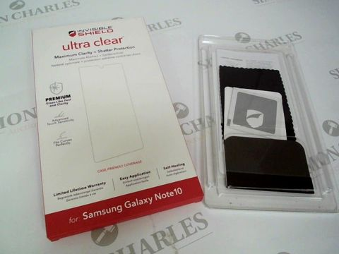 Lot 2322 LOT BOX OF APPROX 65 BRAND NEW INVISIBLE SHIELD ULTRA CLEAR PHONE PROTECTORS FOR SAMSUNG GALAXY NOTE 10