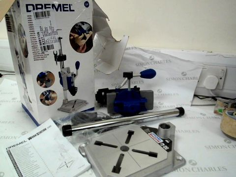 Lot 12492 DREMEL WORKSTATION DRILL-PRESS, ROTARY TOOL HOLDER, FLEX SHAFT TOOL STAND AND TOOLBOX