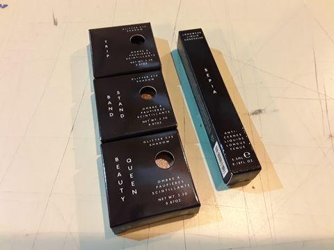 Lot 13573 BOX OF 127 BRAND NEW COSMETICS TO INCLUDE: EYESHADOW TRIO SETS, SEPIA LONGWEAR LIQUID CONCEALERS
