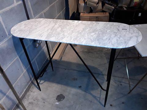 Lot 58 DESIGNER OVAL WHITE MAFBLE EFFECT SIDE TABLE