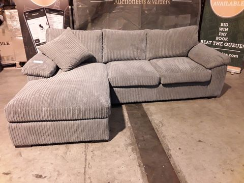 Lot 529 DESIGNER GREY JUMBO CHAISE SOFA