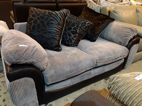 Lot 3019 DESIGNER BLACK FAUX LEATHER & GREY JUMBO CHORD TWO SEATER SOFA WITH SCATTER CUSHIONS