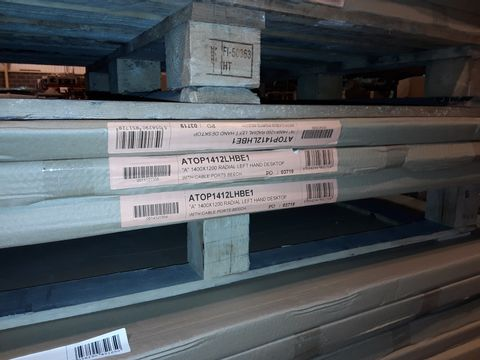 Lot 5095 LOT OF 3 BRAND NEW 1400X1200MM RADIAL LEFT HAND DESKTOPS WITH CABLE PORTS - BEECH