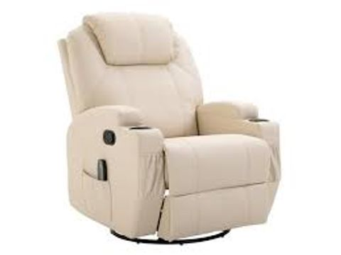 Lot 578 BOXED CREAM LEATHER RISE & RECLINER EASY CHAIR (2 BOXES)