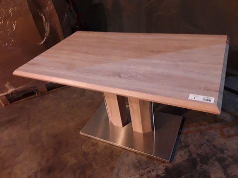 Lot 1 DESIGNER LIGHT OAK RECTANGULAR FIXED DINING TABLE ON TWIN PEDESTAL