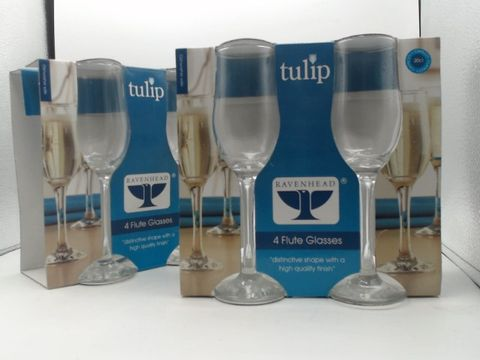 Lot 4026 2 SETS OF 4 RAVENHEAD TULIP FLUTE GLASSES