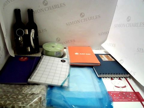 Lot 7034 LOT OF ASSORTED ITEMS TO INCLUDE; NOTEBOOKS, DVD-R, BAR ACCESSORY SET ETC
